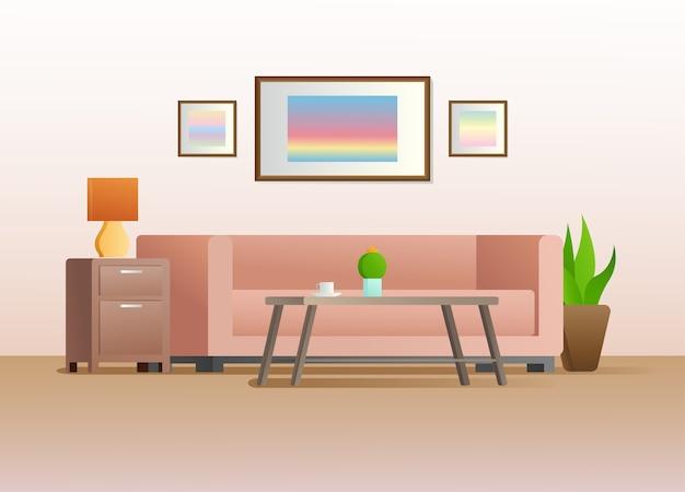 Интерьер в стиле. мебель для гостиной. иллюстрация