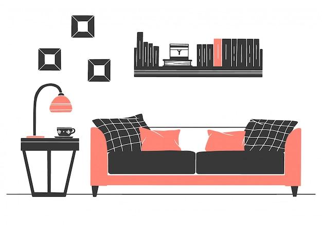 Интерьер в скандинавском стиле. часть гостиной. ручной обращается векторная иллюстрация