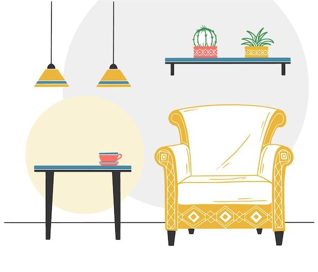 スカンジナビアスタイルのインテリア。部屋の一部。スケッチスタイルの手描きイラスト。