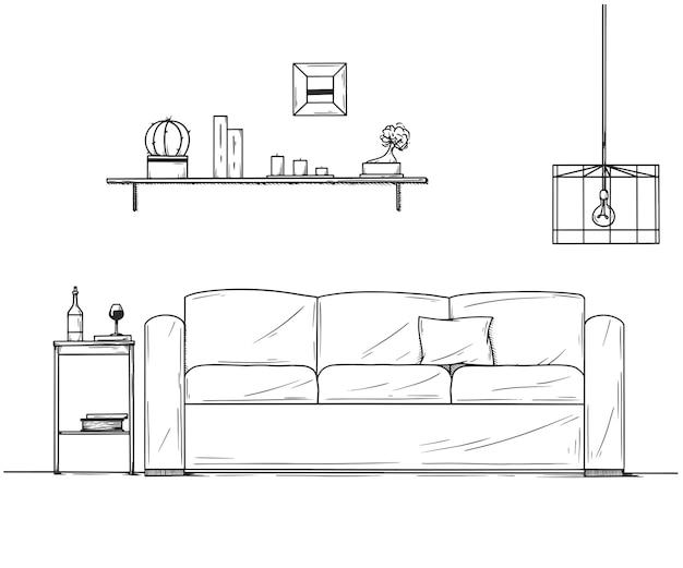 Интерьер в стиле эскиза. диван, тумбочка, светильник и полка с растениями.