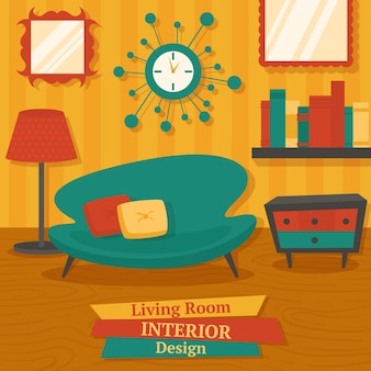 Interior indoor living room design with sofa lamp and bookshelf vector illustration
