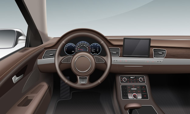 Interior inside car with leather wheel land dashboard in brown color