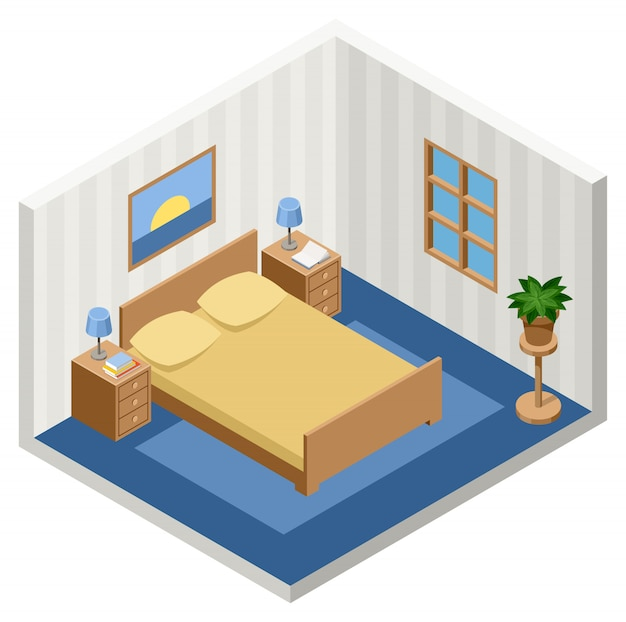 Interior of the isometric bedroom with furniture