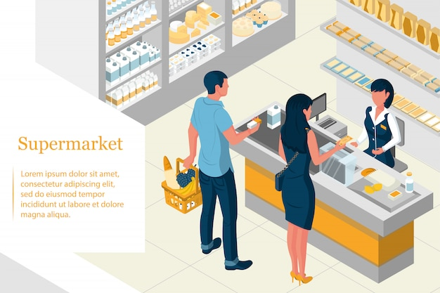Interior isometric design of a supermarket. shelves with products