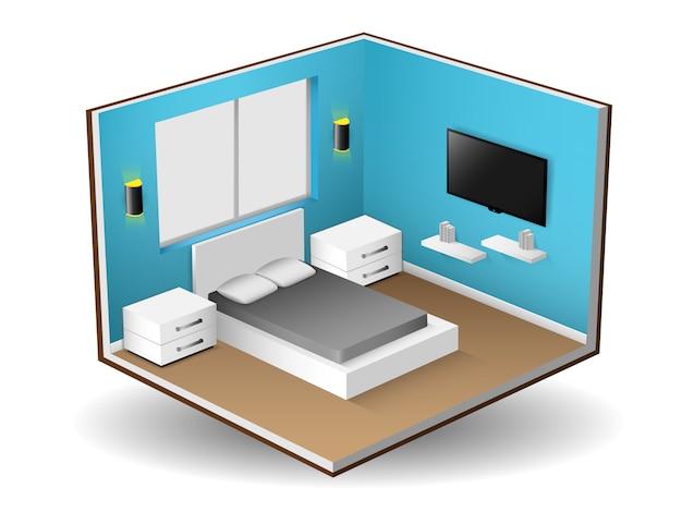 Interior isometric of modern bedroom interior design