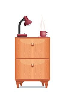 Предмет интерьера прикроватная тумбочка с настольной лампой и чашкой кофе. мебель часть деревянная тумбочка, изолированные на белом фоне. векторная иллюстрация