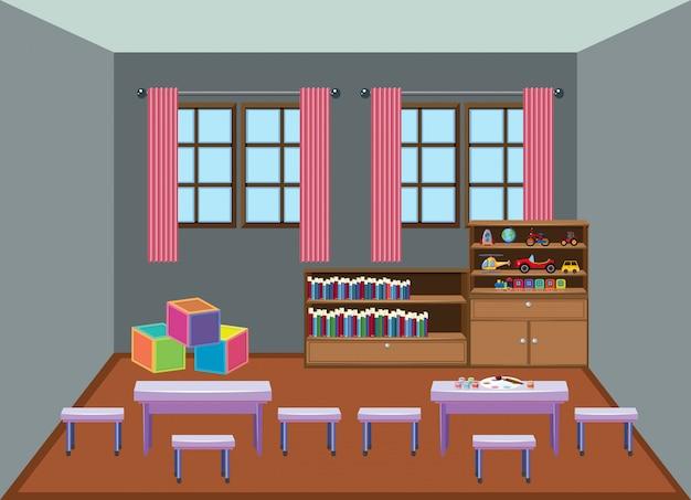 Interior kindergarten school classroom