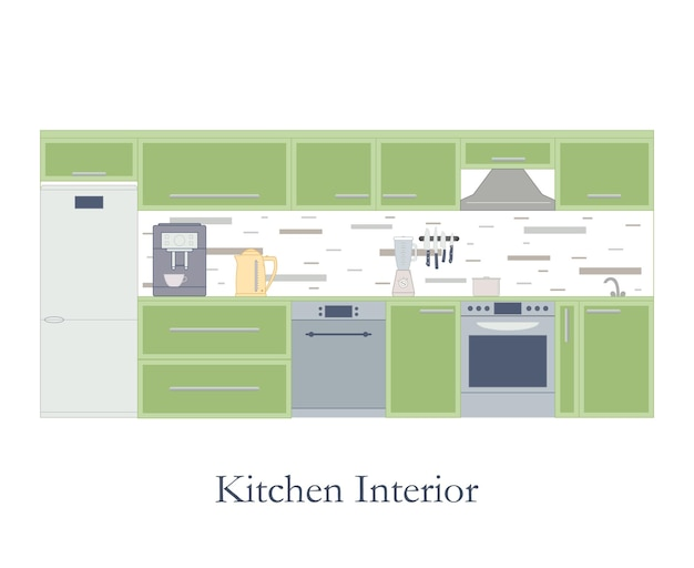 Interior of the kitchen. flat style. white background. kitchen design furniture and accessories. coffee machine, electric kettle and blender. the pot on the stove. dishwasher. vector illustration.