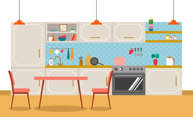 Interior of a kitchen in flat style.