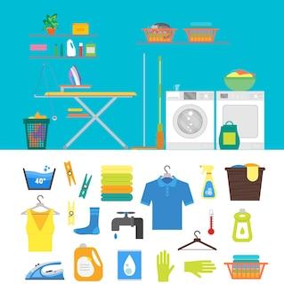 家具の洗濯、アイロンの家事、パーツセットのフラットなデザインスタイルのインテリアランドリールーム。ベクトルイラスト