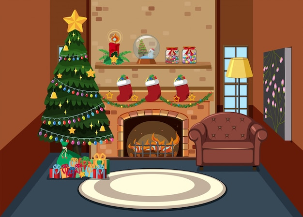 Interior of living room on christmas