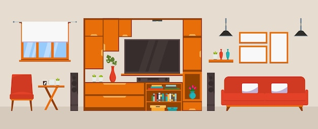 Interior of the living room design of a cozy room with sofa tv stand window and decor accessories