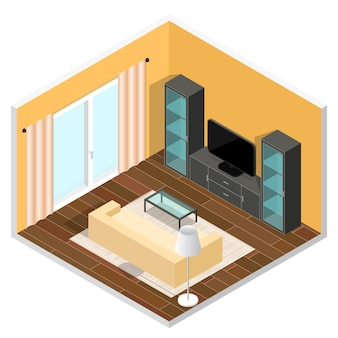Interior of a living room. isometric view.  illustration