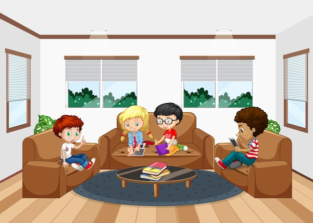 Interior of living room with children