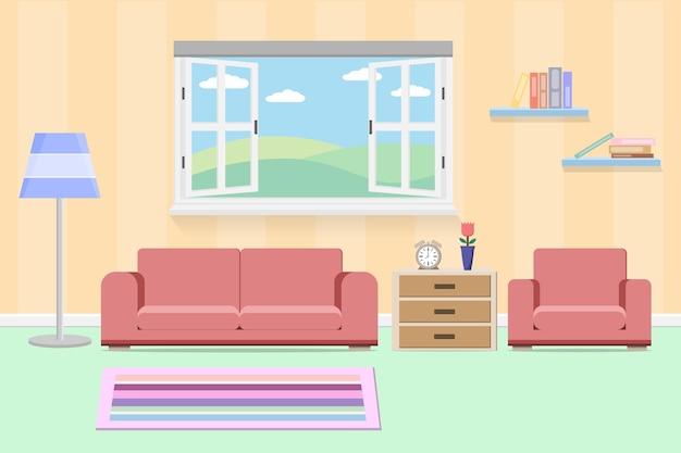 Внутренняя гостиная с мебелью и окном