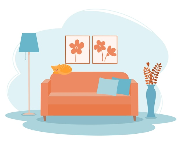 Interior of the living room with a sofa, a floor vase and a floor lamp.