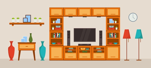Interior of living room with sofa tv and decor accessories