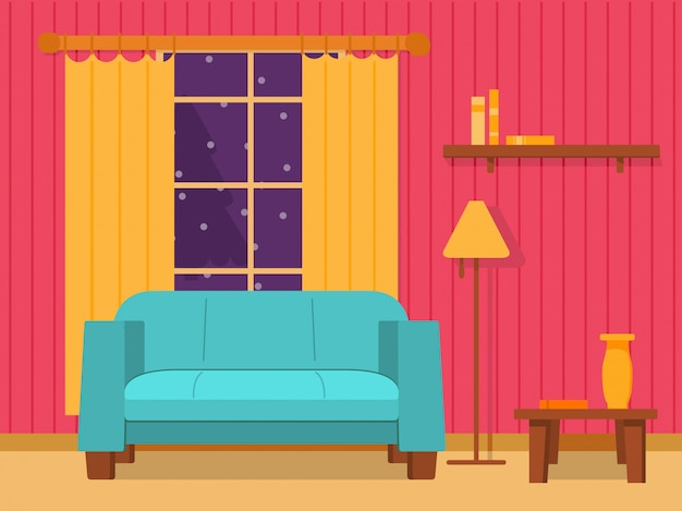 Interior of the living room with a sofa and a window with curtains and a floor lamp.