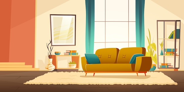 Interior of living room with sofa