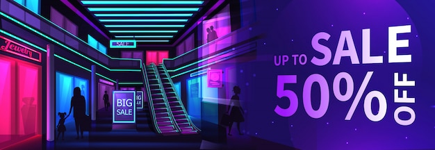 The interior of mall banner. scene inside a shopping store at night.