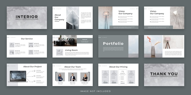 Interior minimal presentation layout design with infographic