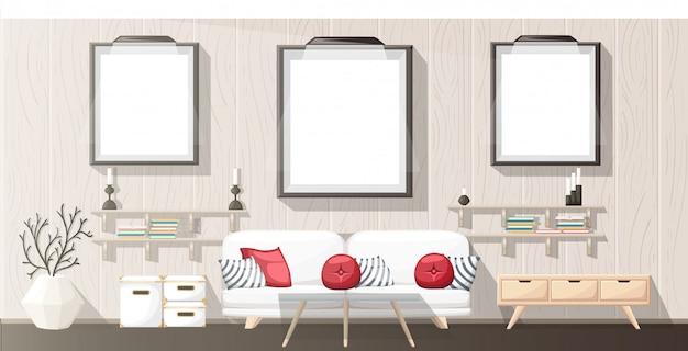Интерьер. современная гостиная с серым диваном, вазой, полкой с книгами и тумбочкой. интерьер квартиры в стиле. иллюстрация уютного интерьера на белом фоне