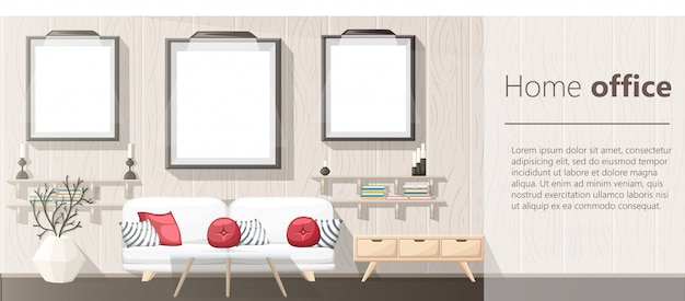 Interior . modern living room with grey sofa, vase, shelf with books and nightstand. apartment interior in the  style.   illustration cozy interior on the white background