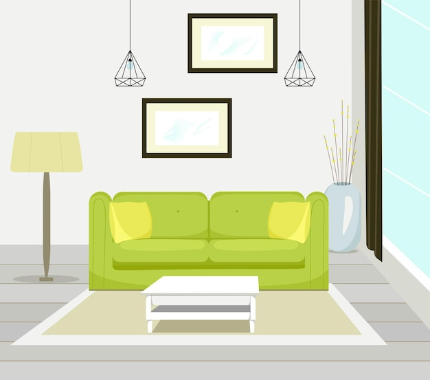 Interior of modern living room with sofa furniture table floor lamp large window wall painting