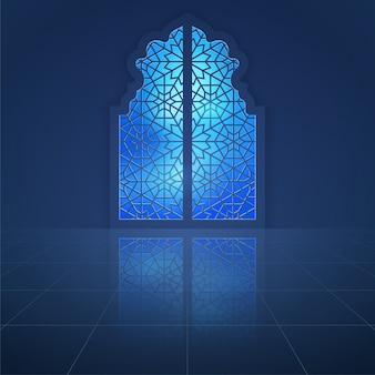 Interior mosque dooor with arabic pattern