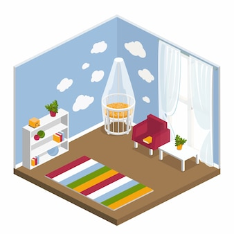 Interior of the nursery in the isometric
