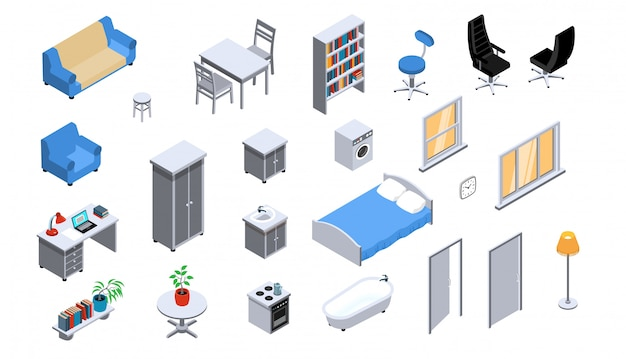 Interior objects appliances furniture lighting isometric icons set with sofa bed bookcase office chair oven