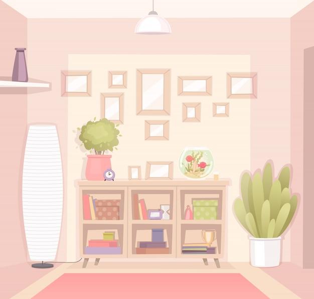 아파트 또는 집의 아늑한 방 인테리어. 만화 스타일의 벡터 일러스트 레이션