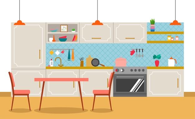 フラットスタイルのキッチンのインテリア。
