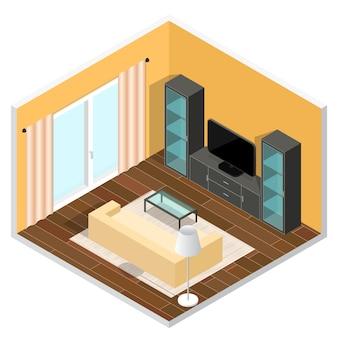 リビングルームのインテリア。等角投影図。図