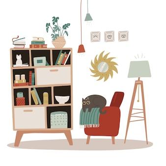 本棚のあるリビングルームのインテリア。スカンジナビアの居心地の良いスタイル。フラット手描きイラスト