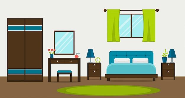 窓、ワードローブ、化粧台、鏡付きのモダンなベッドルームのインテリア。フラットスタイルのベクトル図