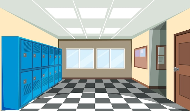 Интерьер школьной раздевалки