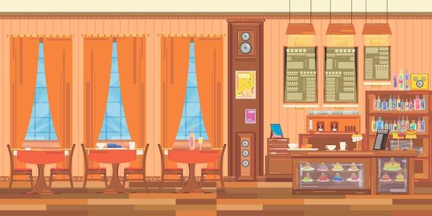 小さなファミリーレストランのインテリア。