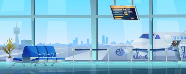 공항 터미널 대기실 내부 빈 열 좌석 비행기와 관제탑 외부