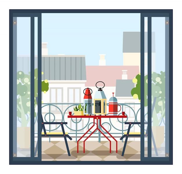 バルコニー、テーブル、椅子、鉢植えのインテリア。美しい風景、開いたドアから街の景色。スタイルのカラフルなイラスト。