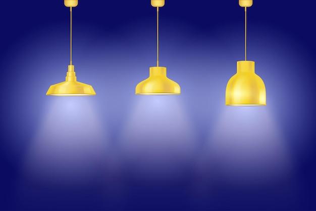 黄色のヴィンテージのペダントランプが付いている青い壁の内部。レトロなスタイルのランプのセット。