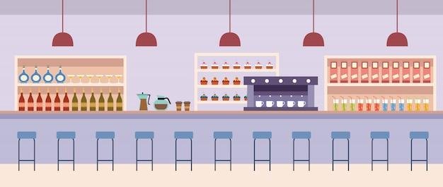 Интерьер кафе. кафетерий. барная стойка с напитками. кофеварка