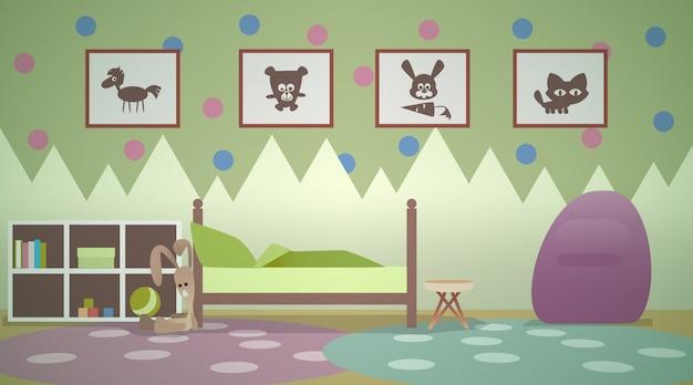 Интерьер детской комнаты в зеленых тонах. кровать подростка. игровая комната и спальня. мультяшные силуэты животных в картинках на стенах