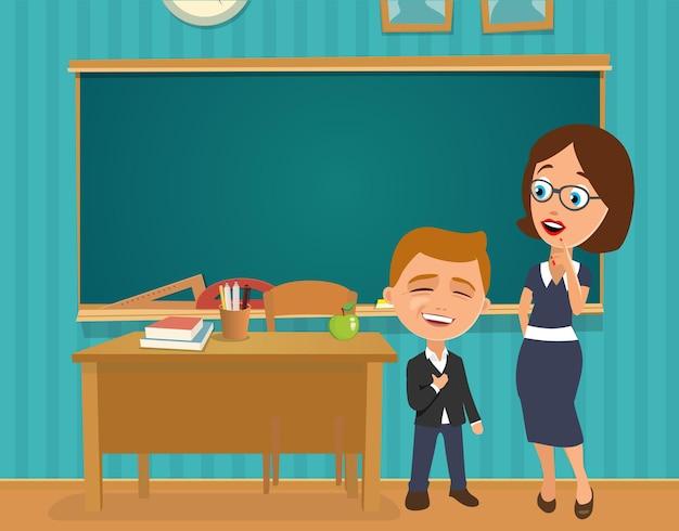 책상과 칠판이 있는 교실 내부. 입을 벌리고 놀란 선생님과 학자가 자랑스럽고 행복합니다. 벡터 평면 컬러 일러스트