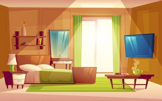 Интерьер уютной современной спальни, гостиная с двуспальной кроватью, телевизор, комод