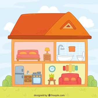 お部屋での手描きの家のインテリア