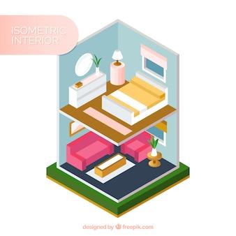 Интерьер дома в изометрической стиле