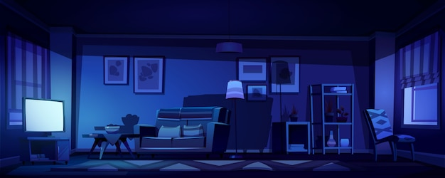 夜のテレビ付きのリビングルームのインテリア