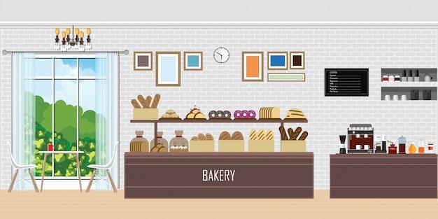 Интерьер современного магазина хлебопекарни с счетчиком дисплея.