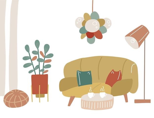 黄色いソファ、コーヒーテーブル、ペンダントライト、フロアランプ、オットマン、植物を備えたモダンな家のインテリア。トレンディなスカンジナビアスタイルで装飾された居心地の良いリビングルームまたはアパートメント。フラットなイラスト。